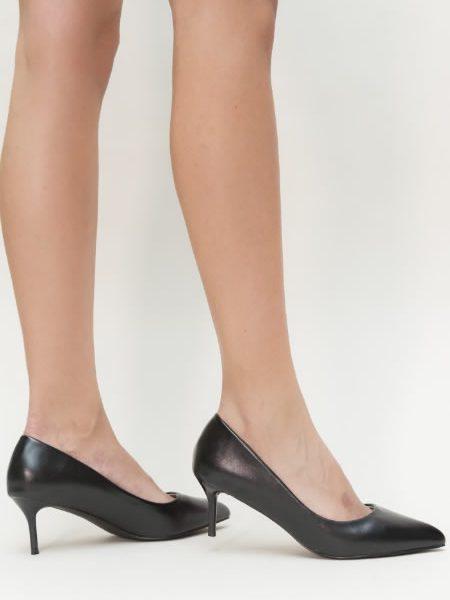 Pantofi Negri Cu Toc Subtire Mediu