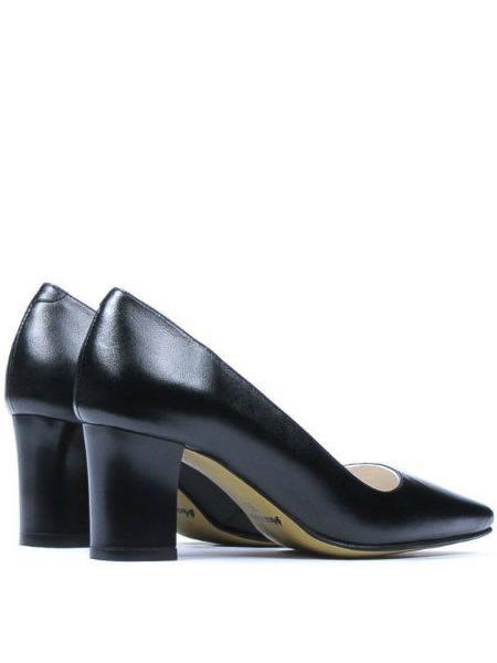 Pantofi Negri Din Piele Toc Mediu Cu Varf Ascutit
