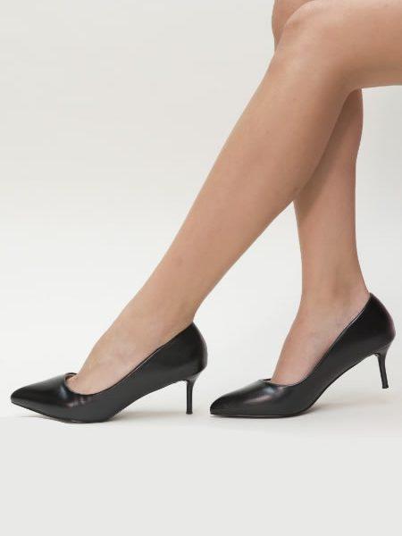 Pantofi Negri Kitten Heel