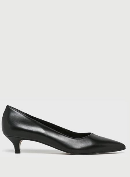 Pantofi Negri Piele Cu Toc Mic Jos
