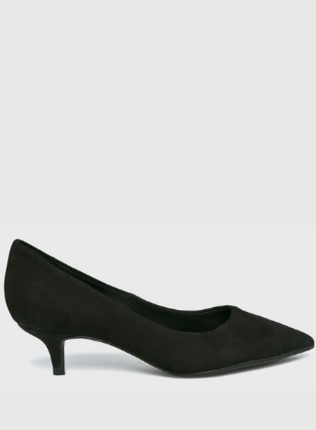 Pantofi Negri Piele Intoarsa Cu Toc Kitten Heel