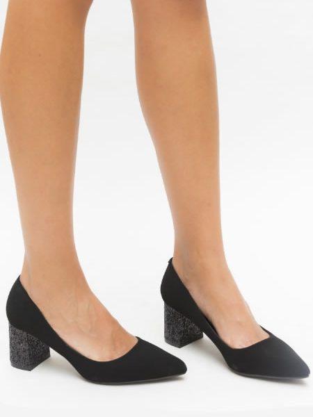 Pantofi Negrii Cu Mediu Cu Glitter Si Varf Ascutit
