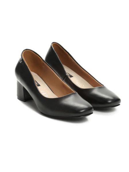 Pantofi Negrii Cu Toc Mic Patrat Si Varf Patrat