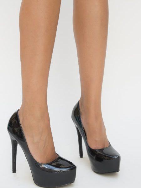 Pantofi Negrii Cu Toc Si Platforma