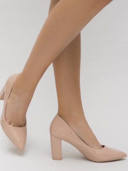 Pantofi Nud Cu Toc Gros Stileto