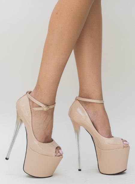Pantofi Nud Cu Toc Si Platforma