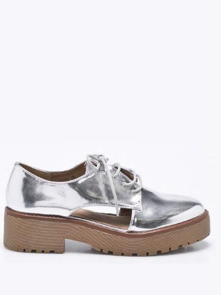 Pantofi Oxford Dama Argintii De Vara