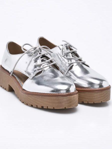 Pantofi Oxford Dama Argintii Decupati