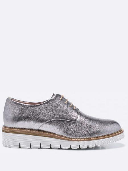 Pantofi Oxford Dama Din Piele Argintii