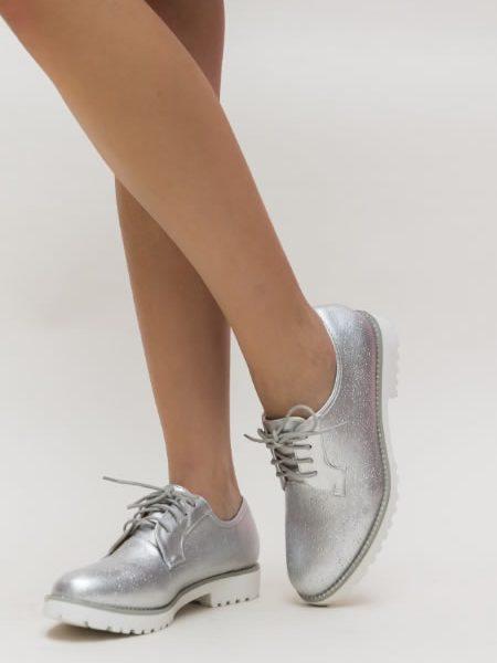 Pantofi Oxford Dama Ieftini Argintii