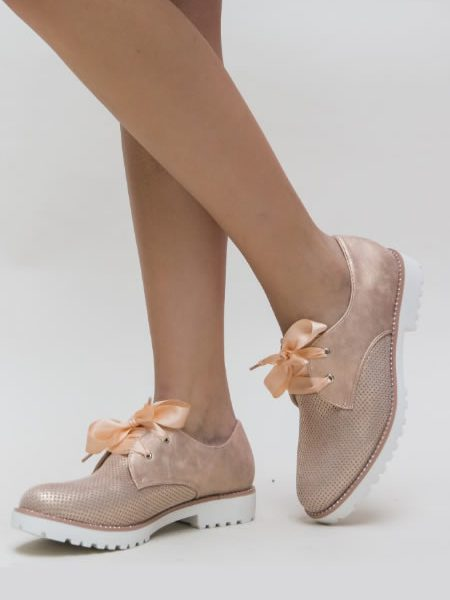 Pantofi Oxford Dama Perforati Roz