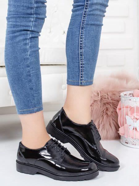 Pantofi Oxford Dama Piele Negri