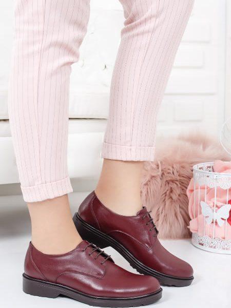 Pantofi Oxford Dama Piele Visinii