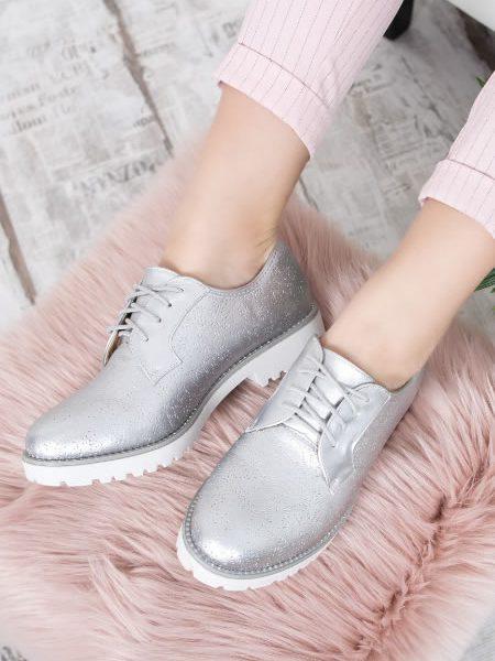 Pantofi Oxford De Dama Argintii Ieftini