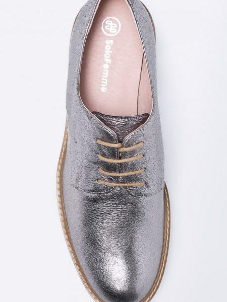 Pantofi Oxford De Dama Cu Platforma Argintii Din Piele