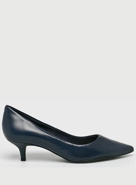 Pantofi Piele Bleumarin Cu Toc Mic Subtire