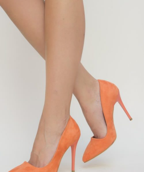 Pantofi Portocalii Cu Toc