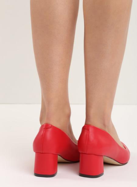 Pantofi Rosi Cu Toc Mic Patrat