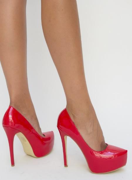 Pantofi Rosi Cu Toc Si Platforma Ieftine