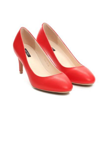 Pantofi Rosii Corai Cu Toc Mediu Subtire