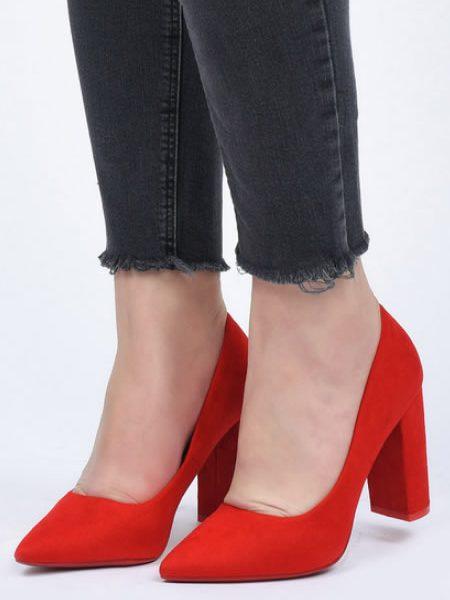 Pantofi Rosii Cu Toc Gros Din Imitatie De Piele Intoarsa