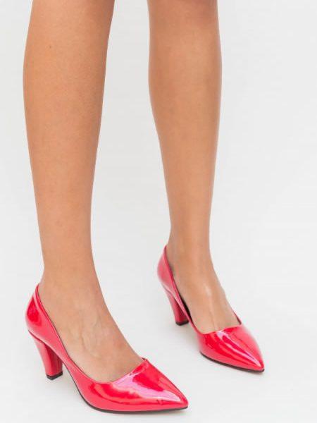 Pantofi Rosii Cu Toc Mediu