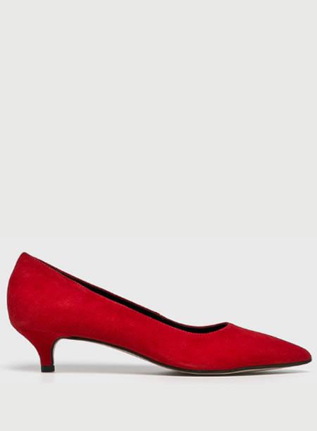 Pantofi Rosii Cu Toc Mic Subtire De Piele