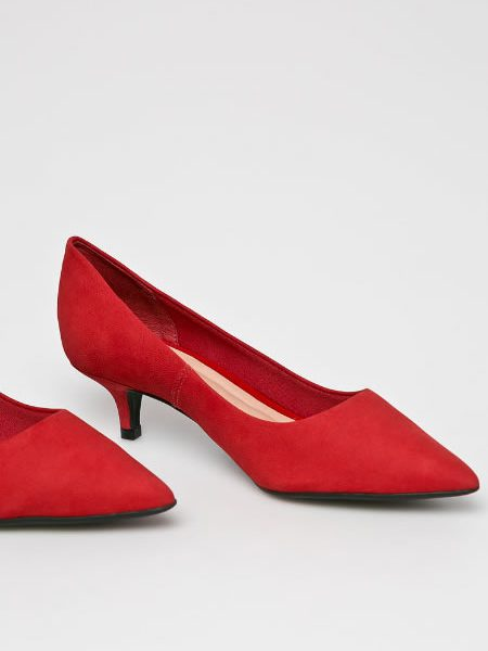 Pantofi Rosii Din Piele Intoarsa Cu Toc Kitten Heel