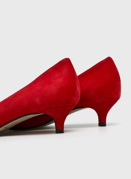 Pantofi Rosii Piele Toc Jos Mic