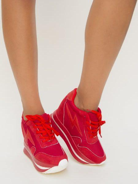 Pantofi Sport Cu Platforma Ascunsa Rosii