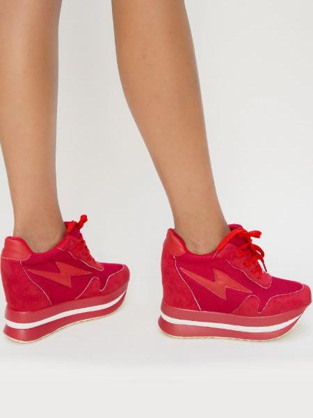 Pantofi Sport Dama Cu Platforma Ascunsa Rosii