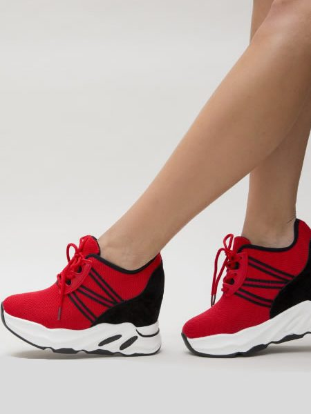 Pantofi Sport Dama Rosii Cu Platforma Ascunsa