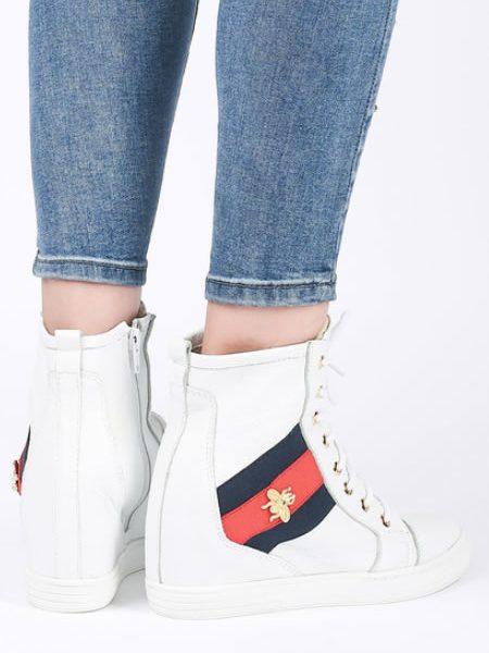 Pantofi Sport De Dama Cu Platforma Din Piele Naturala