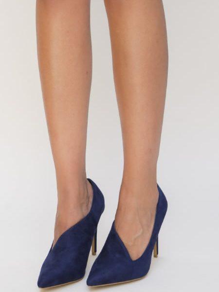 Pantofi Stiletto Albastri Piele Intoarsa Sintetia
