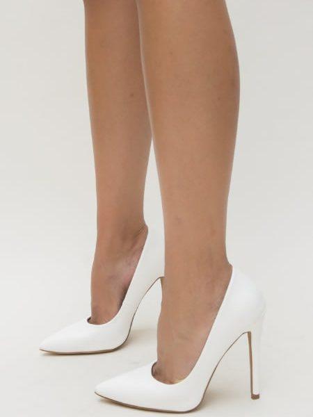 Pantofi Stiletto Albi Cu Toc Inalt