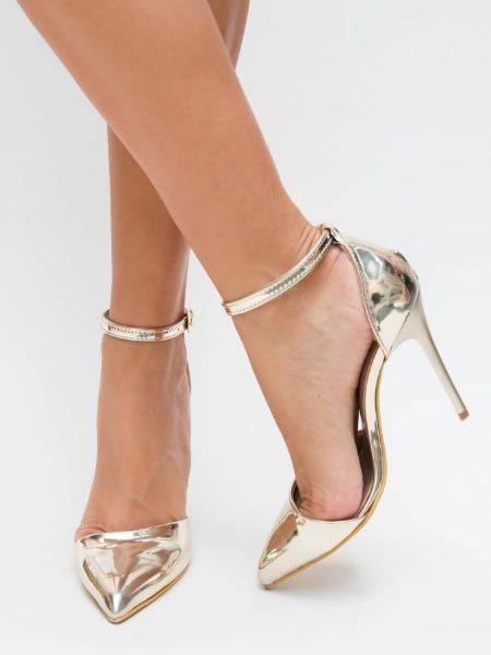 Pantofi Stiletto Aurii Metalici