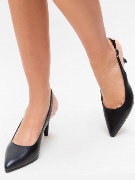 Pantofi Stiletto Casual Negri