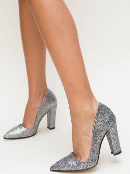 Pantofi Stiletto Cu Toc Gros Ieftini Argintii
