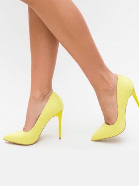 Pantofi Stiletto De Dama Galbeni Neon