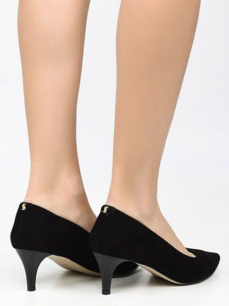 Pantofi Stiletto De Piele Negri Cu Toc Mediu