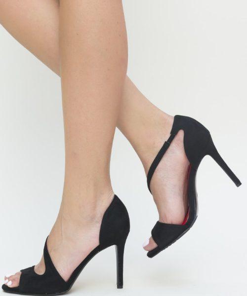 Pantofi Stiletto De Vara Decupati Pe Laterala Imitatie Velur