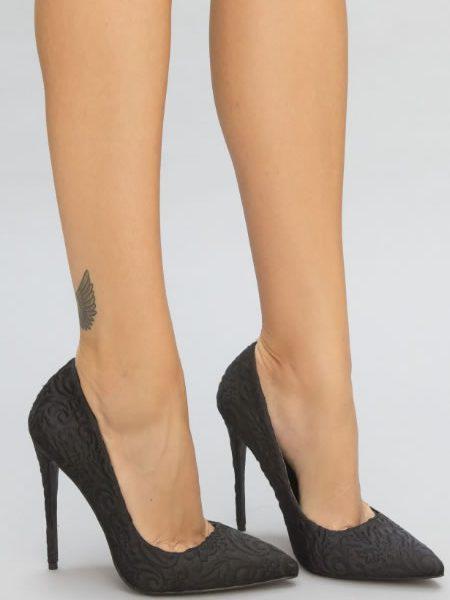 Pantofi stiletto din dantela negri