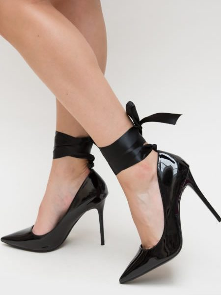 Pantofi Stiletto Din Lac Ieftini