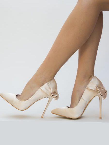 Pantofi Stiletto Din Satin Bej