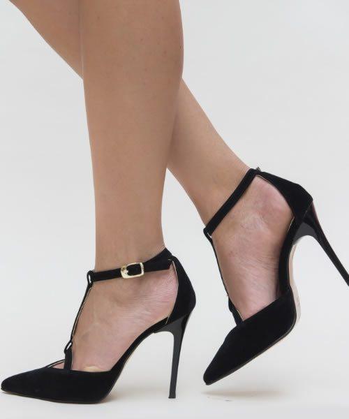 Pantofi Stiletto Eleganti Negri Cu Bareta