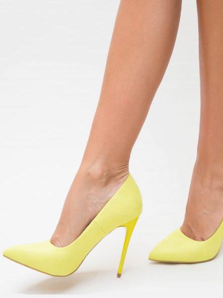 Pantofi Stiletto Galbeni Neon