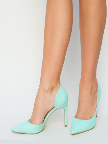 Pantofi Stiletto Inalti Verde Turcoaz Ieftini