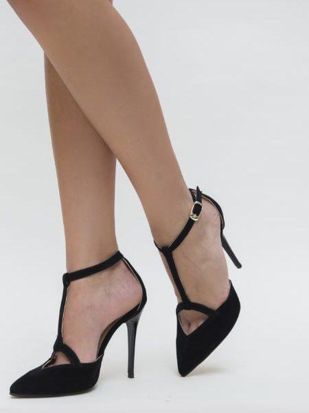 Pantofi Stiletto Negri Cu Bareta