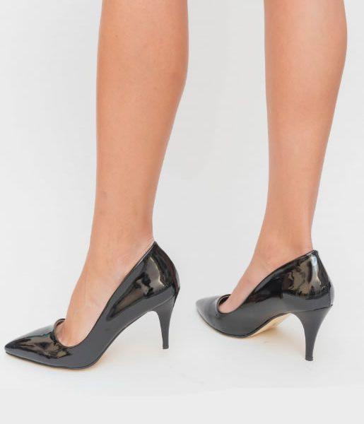 pantofi stiletto negrii cu toc din lac