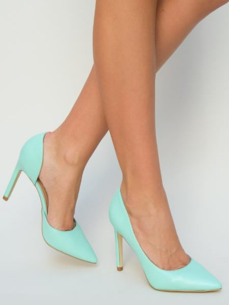 Pantofi Stiletto Verde Turcoaz Ieftini